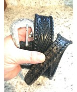 LEEGIN Silver Creek Collection Tooled Leather Western Belt 28 - $33.61