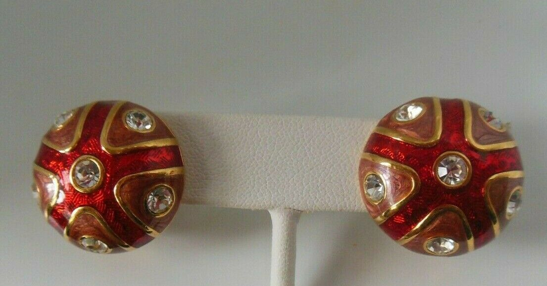 Primary image for Vintage Signed JOAN RIVERS Round Dome Red Enamel Rhinestone Clip-on Earrings