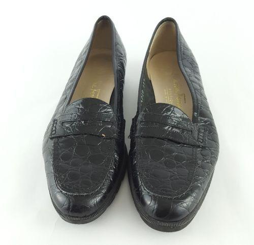Salvatore Ferragamo Boutique 5.5 AA Black marrone croc print flats Z