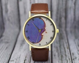 Vintage Crescent Moon Watch | Leather Watch | Ladies Watch | Men's Watch... - $20.00
