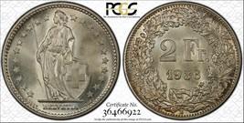 1936-b Suiza 2 Francos Moneda Ms65 Lote #G174 de Plata ! Gem Bu - $233.49