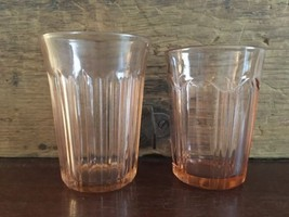 Lot #2 / Pink Depression Glass Ribbed Juice Glass Set of 2 - $24.99