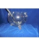 """Crystal 3-Toed """"Globe"""" Punch Bowl with 12 Handled Cups, Glass Ladle - $89.05"""