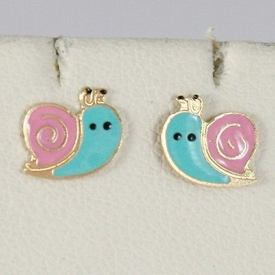 EARRINGS BABY GIRL YELLOW GOLD 750 18K LOBE, MINI SNAIL ENAMELLED, PINK BLUE