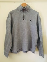 Ralph Lauren Polo Shirt Mens L Cotton Long Sleeve Grey Heavy Pullover He... - $30.48