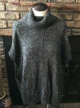 BCBG Maxazria Heathered Black Sleeveless Sweater Cowl Neck Top Size M/L ... - $18.49