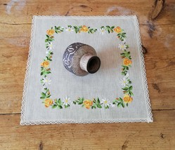 Embroidered 1960s linen Tablecloth with floral motif and spetz from DDR - $44.00