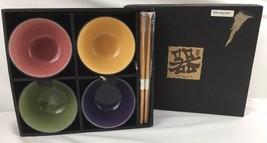 Japanese Rice Soba Noodle Bowls And Chopsticks Set of 4 New - $47.49