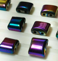 10pcs. Rainbow Hematite Flat Square Beads 10x10mm 2-Hole