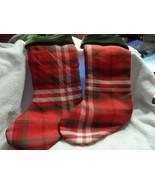 """set of 2 red, white, green plaid 18"""" Christmas stockings St. Nicholas Sq... - $18.99"""