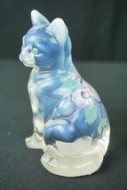 Fenton Clear Opalescent Sitting Cat Hand Painted Purple Flowers by C. Griffiths - $49.95