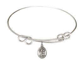 Saint Anthony of Padua 8 1/2 Round Loop Sterling Silver Bangle Bracelet - $64.99