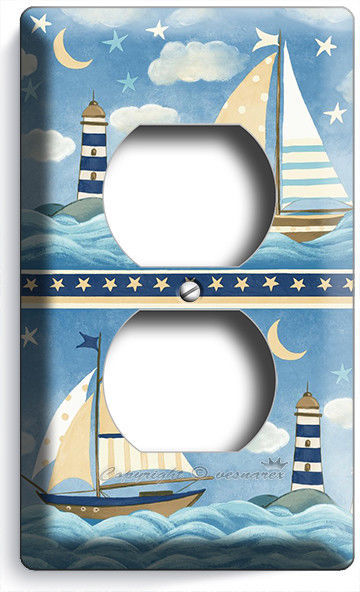 NAUTICAL BABY NURSERY SAILBOATS LIGHT SWITCH OUTLET WALL PLATES ROOM HOUSE DECOR