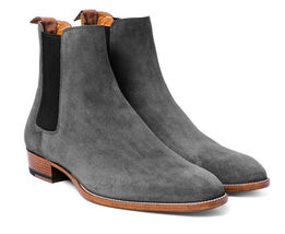 Handmade Gray Suede High Ankle Chelsea Dress/Formal Boots For Men image 4