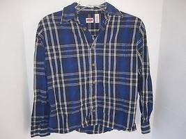 Boys Canyon River Blues Plaid Blue Button Down Cotton Shirt Size 10/12 - $7.69