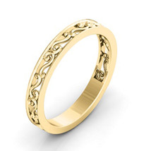 Vintage Ladies 925 Silver 14k Yellow Gold Finish Anniversary Wedding Ban... - $42.35