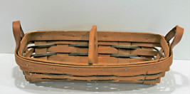 Longaberger Basket 1992 Divider Cracker Leather Handle Woven Traditions  - $29.02