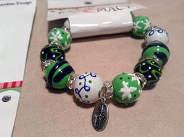 NEW Kate & Macy Green Hand Painted Glass Bracelet/Earring Set image 3