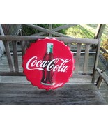 Coca-Cola Large Bottle Cap Steel Sign Red with White Script Logo  - BRAN... - $61.38