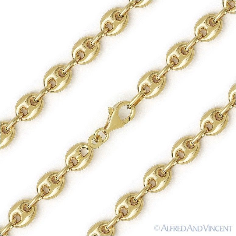 Primary image for Sterling Silver 14k Yellow Gold 6.5mm Puffed Marina Mariner Link Chain Necklace