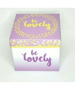Be Lovely Purple Keepsake Box With Lid Gold Foil Accent Polka Dot Interi... - $14.98