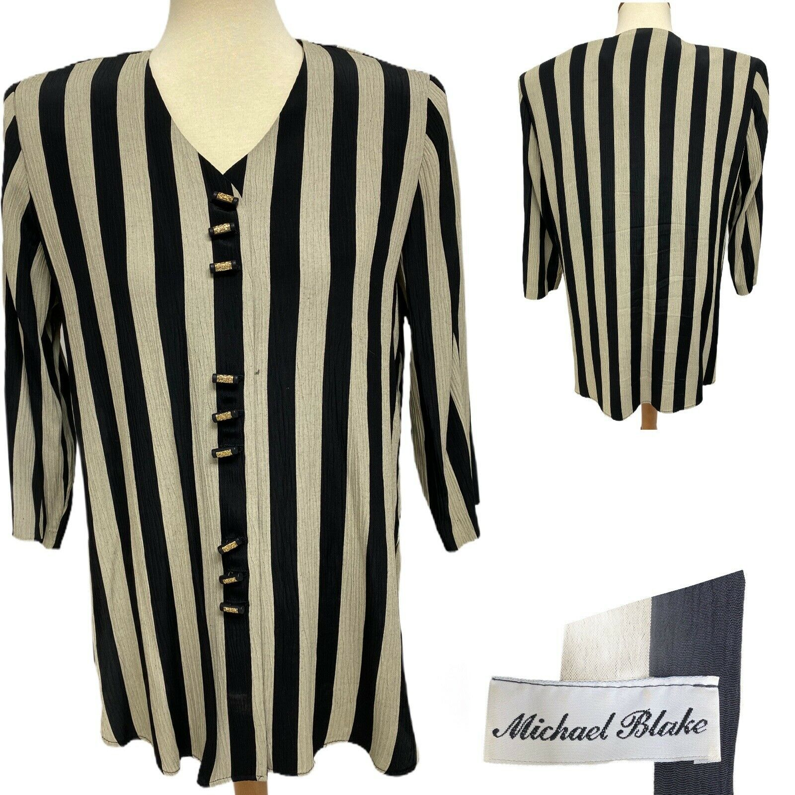 Primary image for Vintage Michael Blake women's striped blouse button front size 10P