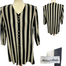 Vintage Michael Blake women's striped blouse button front size 10P - $19.69