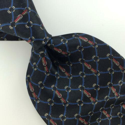 Primary image for BILL BLASS SQUARES MICRO CIRCLES NAVY BLUE BLACK Silk Men Necktie I3-3 EUC Ties