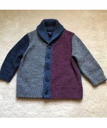 Boys Baby Gap Blue Gray Burgundy Shawl Neck Cardigan Size 18-24 Months - $12.19