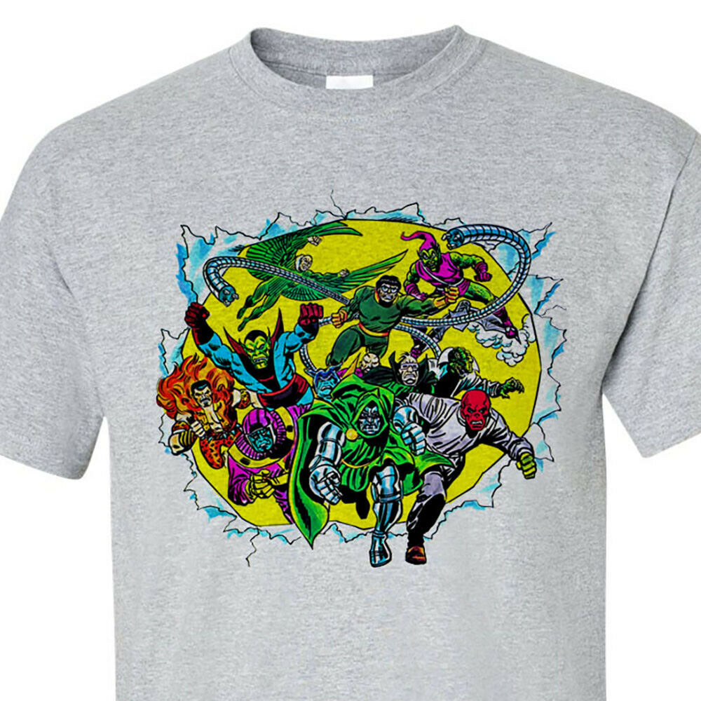 Marvel Comics Villains T-shirt retro Green Goblin Dr Octopus Dr Doom cotton tee
