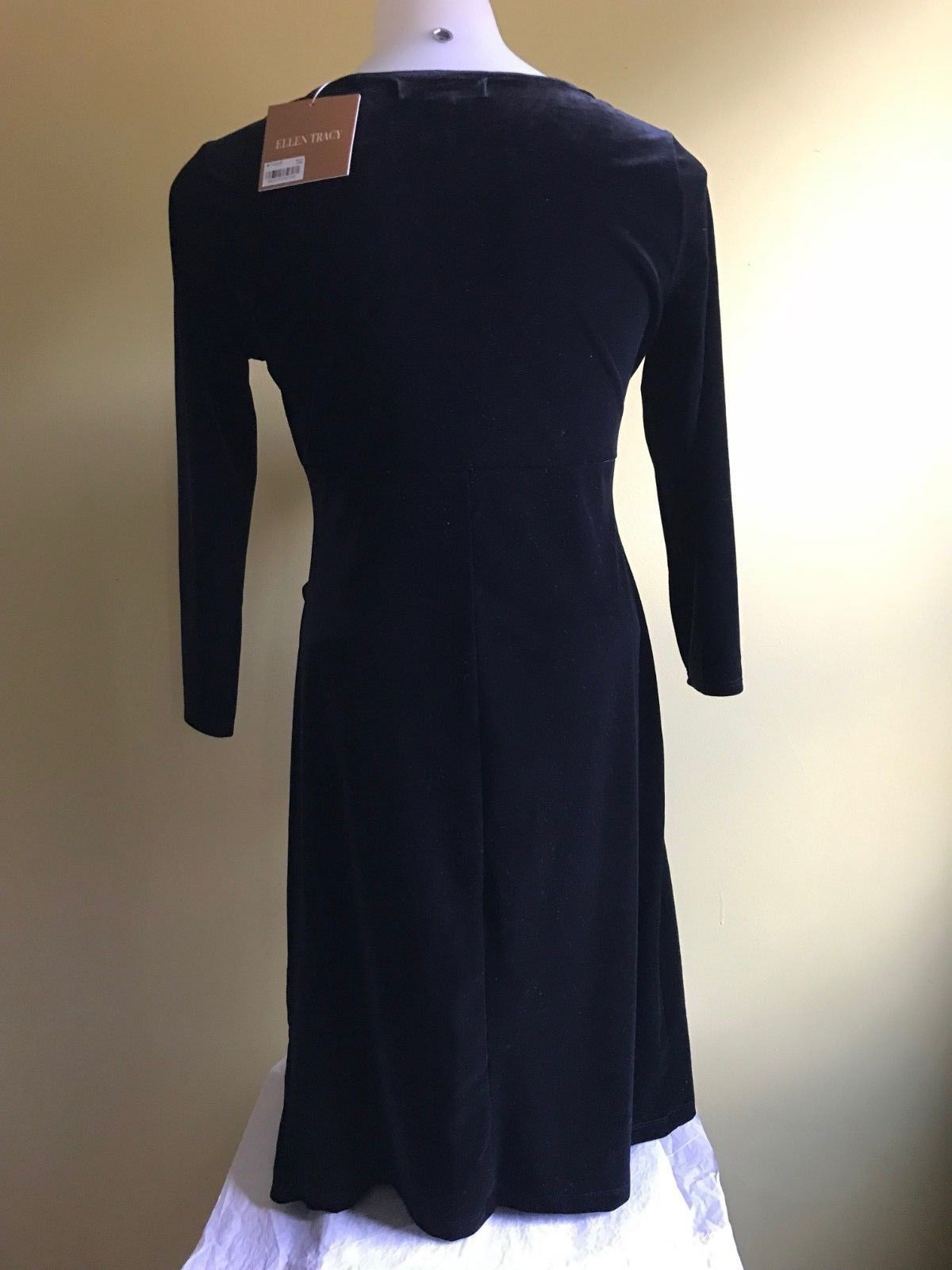 Ellen Tracy Women Velvet Dress Black and Blue Size S