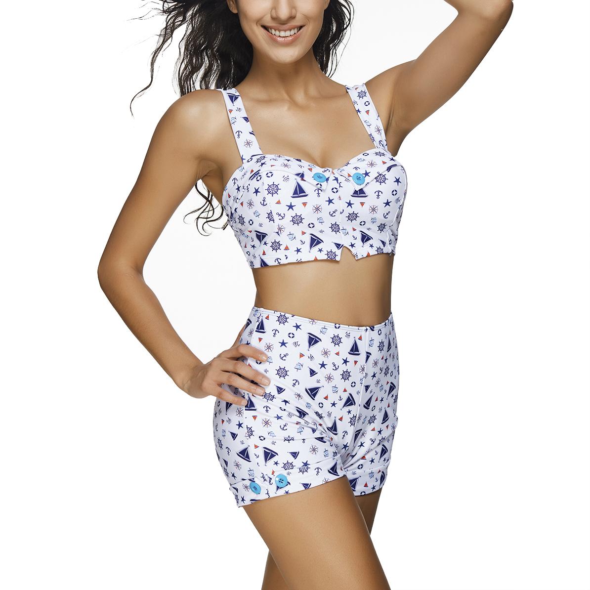 Women's Padded Push Up High Waist Two Pieces Bikini Set