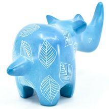 Vaneal Group Hand Carved Kisii Soapstone Blue Rhinoceros Figurine Made Kenya image 4
