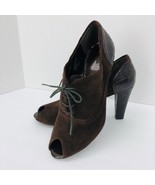 Nickels Brown Suede Peep Toe Lace Heel Pumps 7.5 M Croc Skin Shoe - $29.69