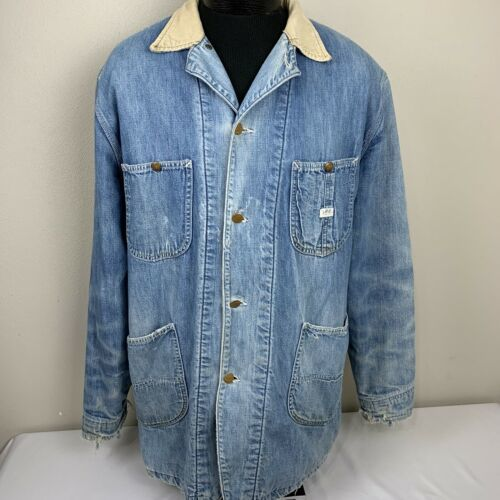 Primary image for Vintage Lee Denim Blanket Lined Chore Coat Barn Jacket Union Made USA 70s 60s