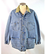 Vtg 90s Grunge LEE Retro Blue Denim Trucker Work Chore Jean Jacket Mens ... - $38.60