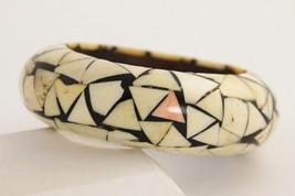 ESTATE VINTAGE BOHO Jewelry CHUNKY BONE & WOOD BANGLE INLAID INLAY BRACELET - $44.00