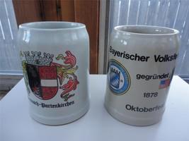 Pair Gerz German Stoneware Steins Garmisch Octoberfest Germans in America - $24.75