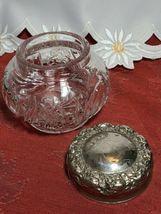 "EAPG Dresser Powder Jar with Metal Lid and Flower Design 4"" x 4"" x 4"" image 4"
