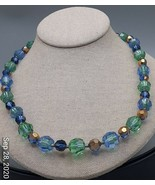 "Vintage cut green and blue crystal  22"" necklace - $6.86"