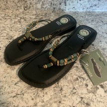 EARTH SHOE AZTEC WOMENS SIZE 9.5 BLACK LEATHER SANDALS NEW BEADED 9.5 - $29.65