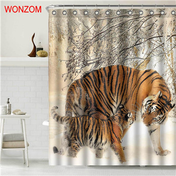 Primary image for WONZOM Tiger Polyester Fabric Bear Shower Curtain Bathroom Decor Dolphin Waterpr