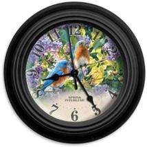 "Reflective Art Spring Interlude Clock With Bluebirds Flower Garden 10"" - $31.95"