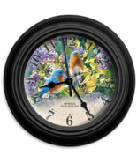 "Reflective Art Spring Interlude Clock With Bluebirds Flower Garden 10"" - $31.95"