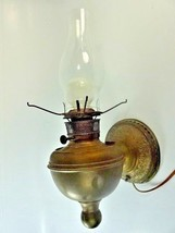 Antique Vintage Victorian Brass Wall Sconce Light w/ Switch Plug In works - $39.20