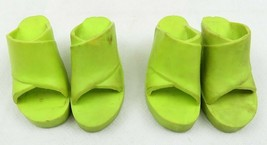 Vintage Lot Of 2 Pairs Ideal 1974 Tiffany Taylor Lime Green Doll Shoes - $35.00