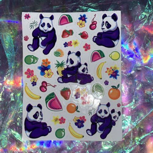 VINTAGE Lisa Frank Sticker Quadrant 1/4 Of Full Sheet LING LING PANDA w FRUITS