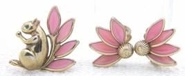 1950 CROWN TRIFARI Gold Tone Pink Glass Squirrel Clip Earrings Brooch Vi... - $197.99