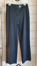 Women's Sz 10 Larry Levine Stretch Dress Pants - Black with Turquoise pinstripes - $12.82