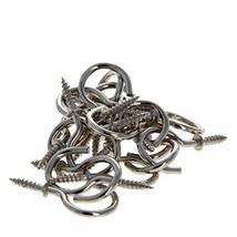MroMax Screw Hooks Nickel Plated Metal Screw-in Ceiling Hooks Cup Hooks 30PCS